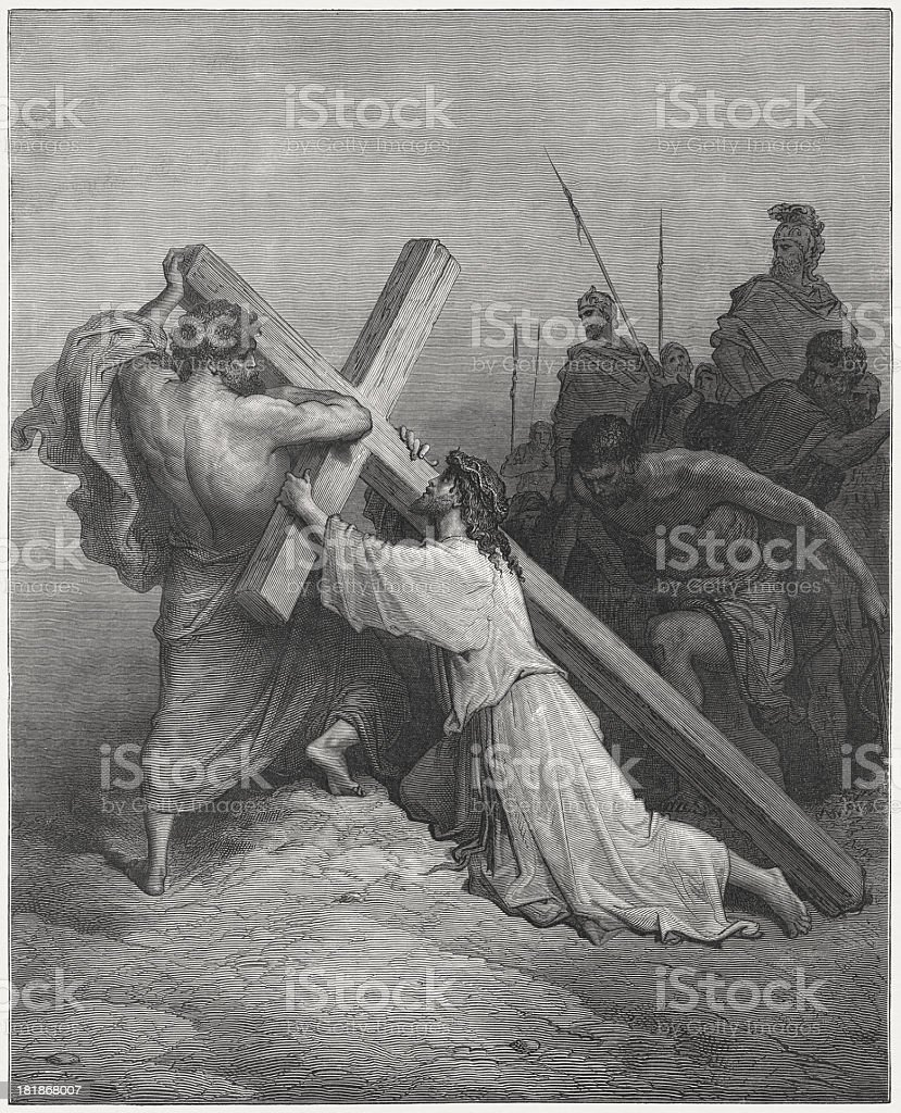 Jesus on the way to Golgotha, by Gustave Doré royalty-free stock vector art