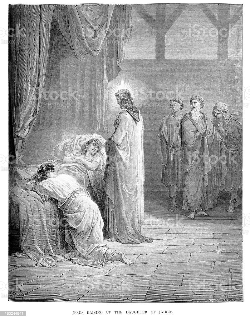 Jesus raising up the daughter of Jairus royalty-free stock vector art
