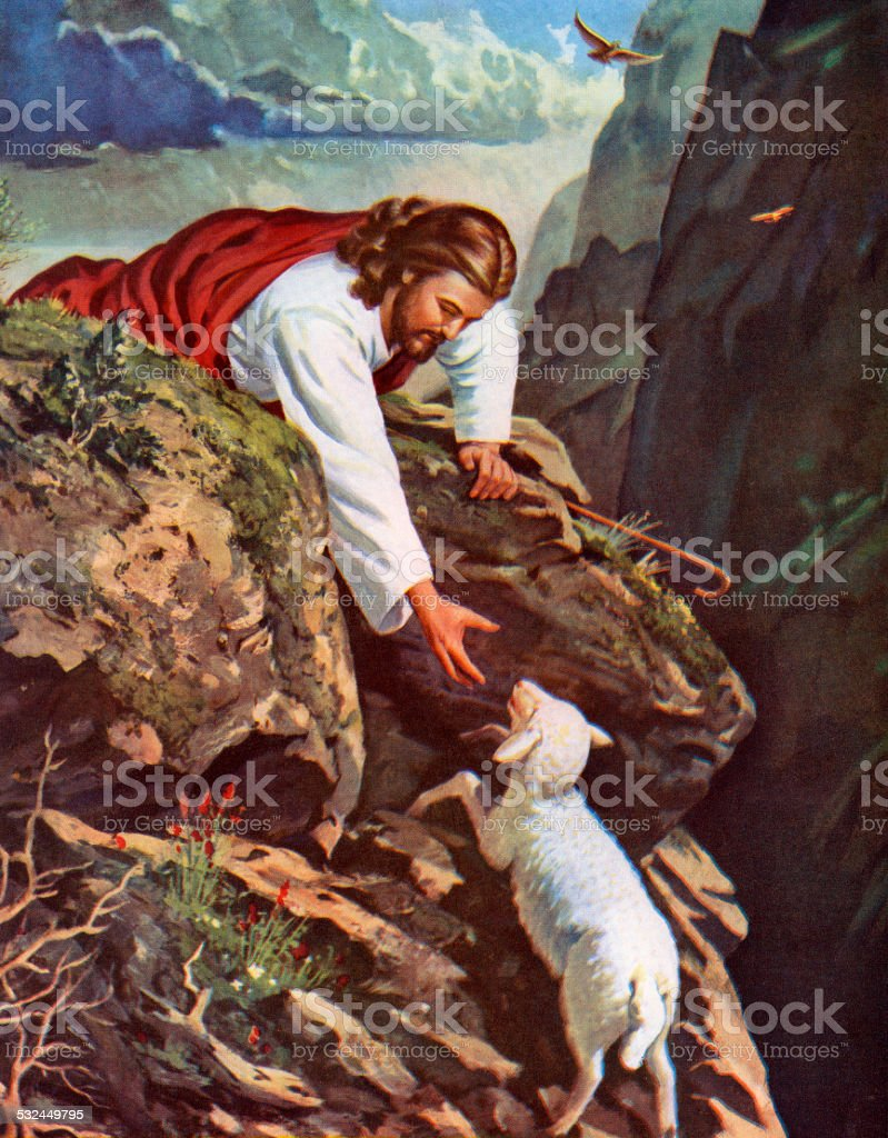 Jesus Reaching for a Lost Sheep vector art illustration