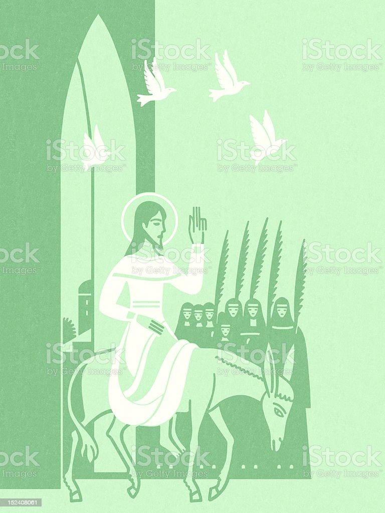 Jesus Riding on Donkey royalty-free stock vector art
