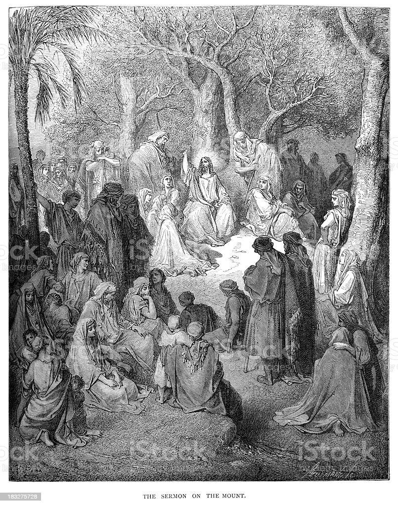 Jesus Sermon on the Mount vector art illustration