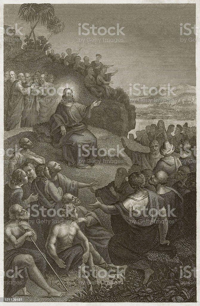 Jesus' Sermon on the Mount (Matthew 5), published c. 1840 royalty-free stock vector art