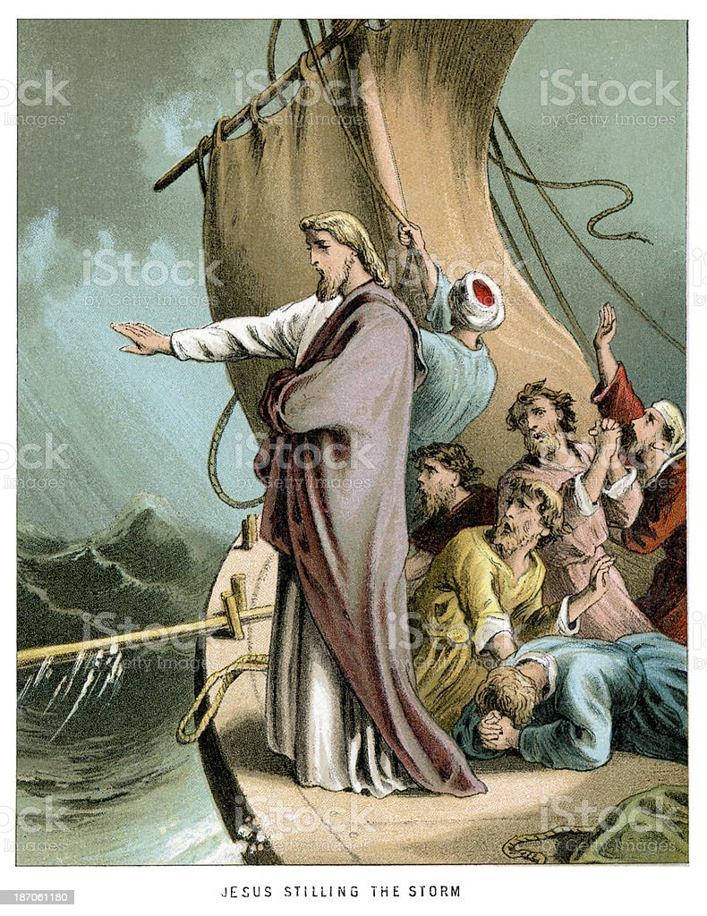 Jesus stilling the Storm royalty-free stock vector art