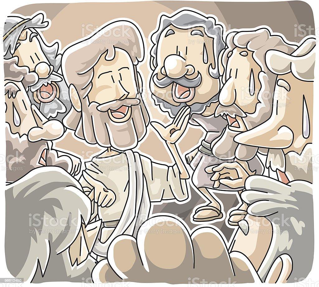 Jesus stood among disciples royalty-free stock vector art