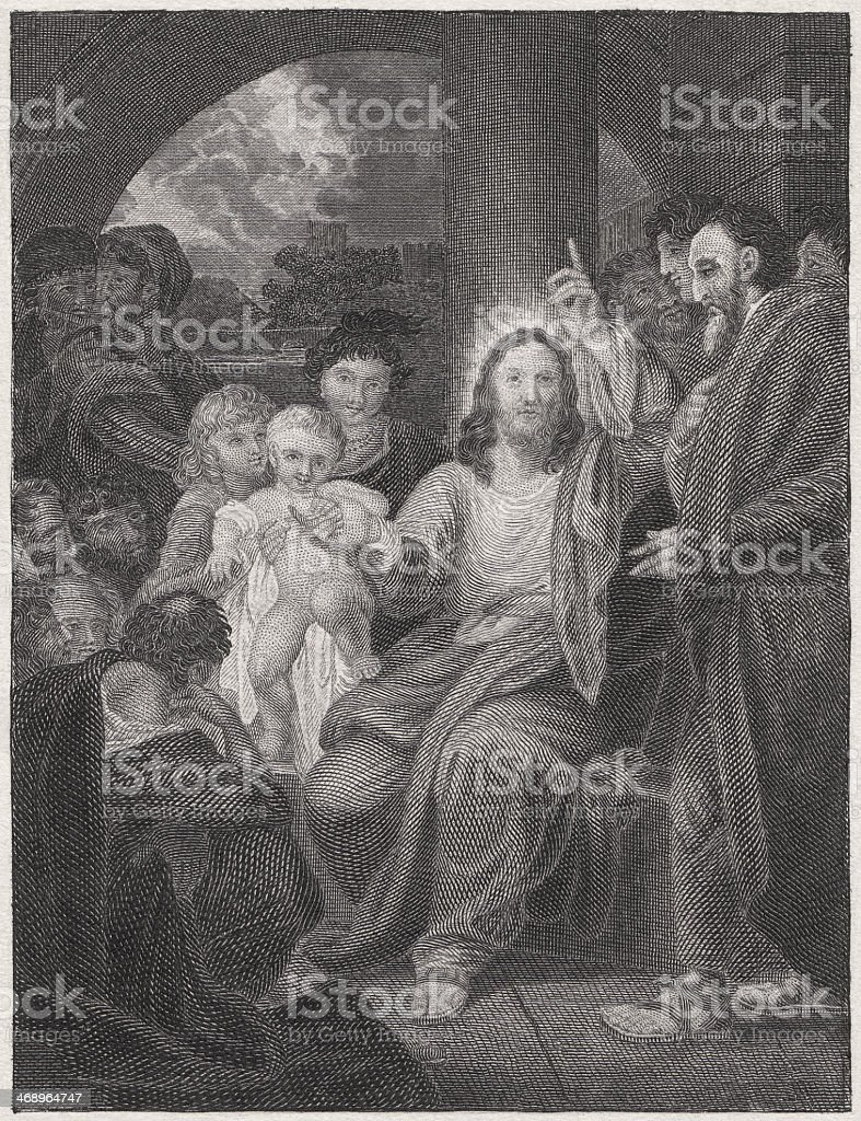 Jesus, the friend of children (Matthew 19, 14), published 1836 royalty-free stock vector art