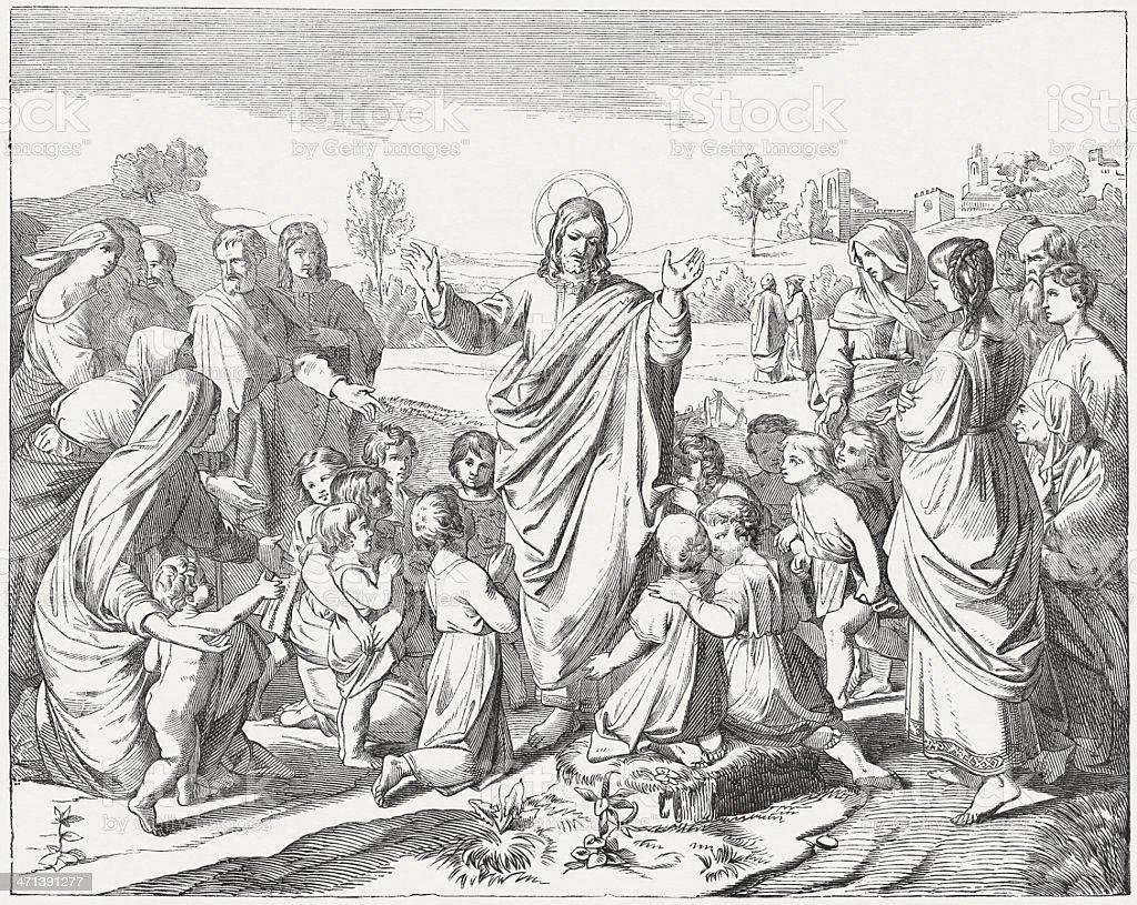 Jesus, the friend of children (Matthew 19, 14), published c.1880 vector art illustration