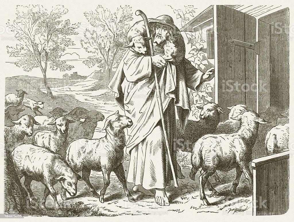 Jesus - the Good Shepherd (John, Chapter 10) vector art illustration