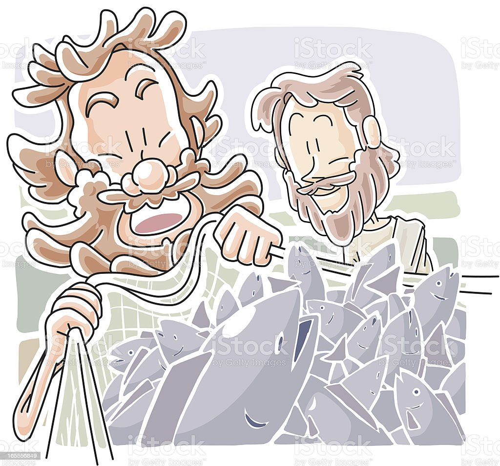 Jesus told Peter to fish vector art illustration