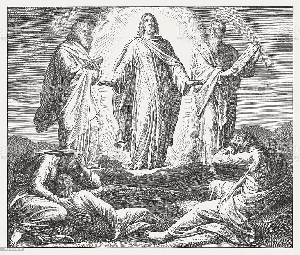 Jesus Transfiguration (Luke 9, 29-32), wood engraving, published in 1860 vector art illustration