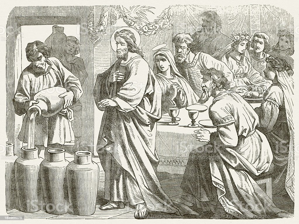 Jesus turns water into wine (John 2, 1-12), published 1877 vector art illustration
