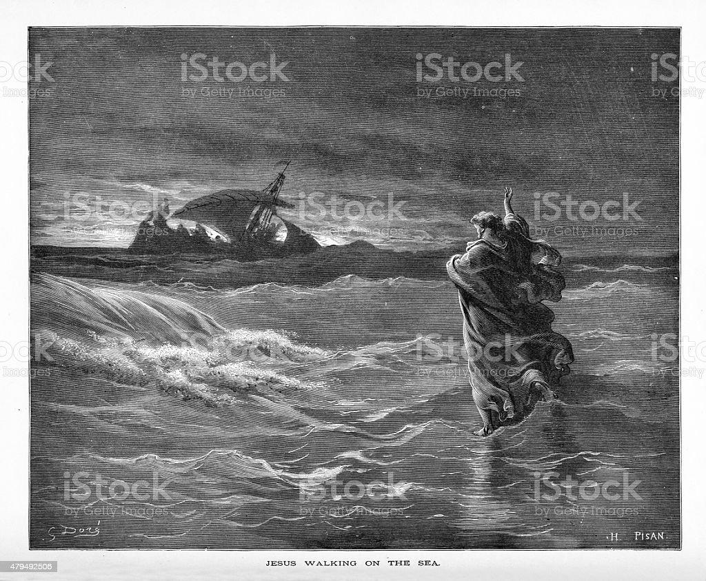 Jesus Walking on Water Biblical Engraving vector art illustration