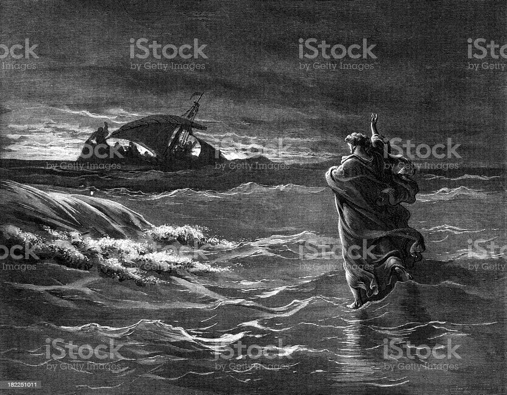 Jesus walks on the sea royalty-free stock vector art