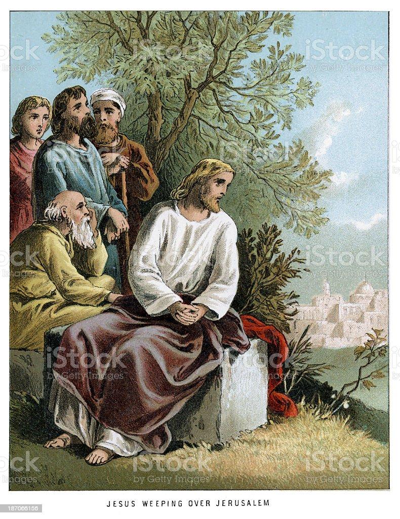 Jesus weeping over Jerusalem royalty-free stock vector art