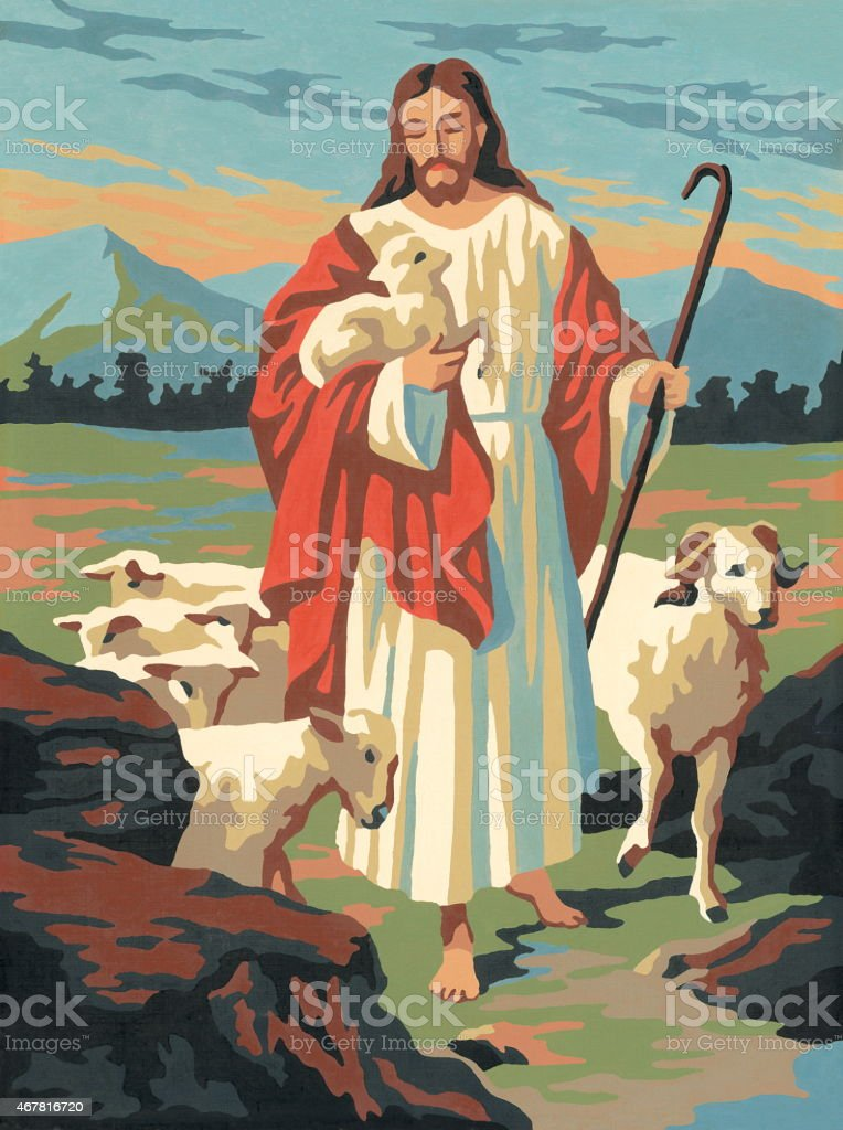 Jesus with a Flock of Sheep vector art illustration