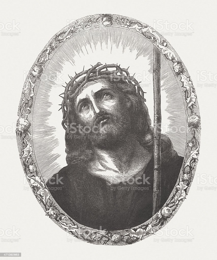 Jesus with crown of thorns, wood engraving, published ca. 1880 royalty-free stock vector art