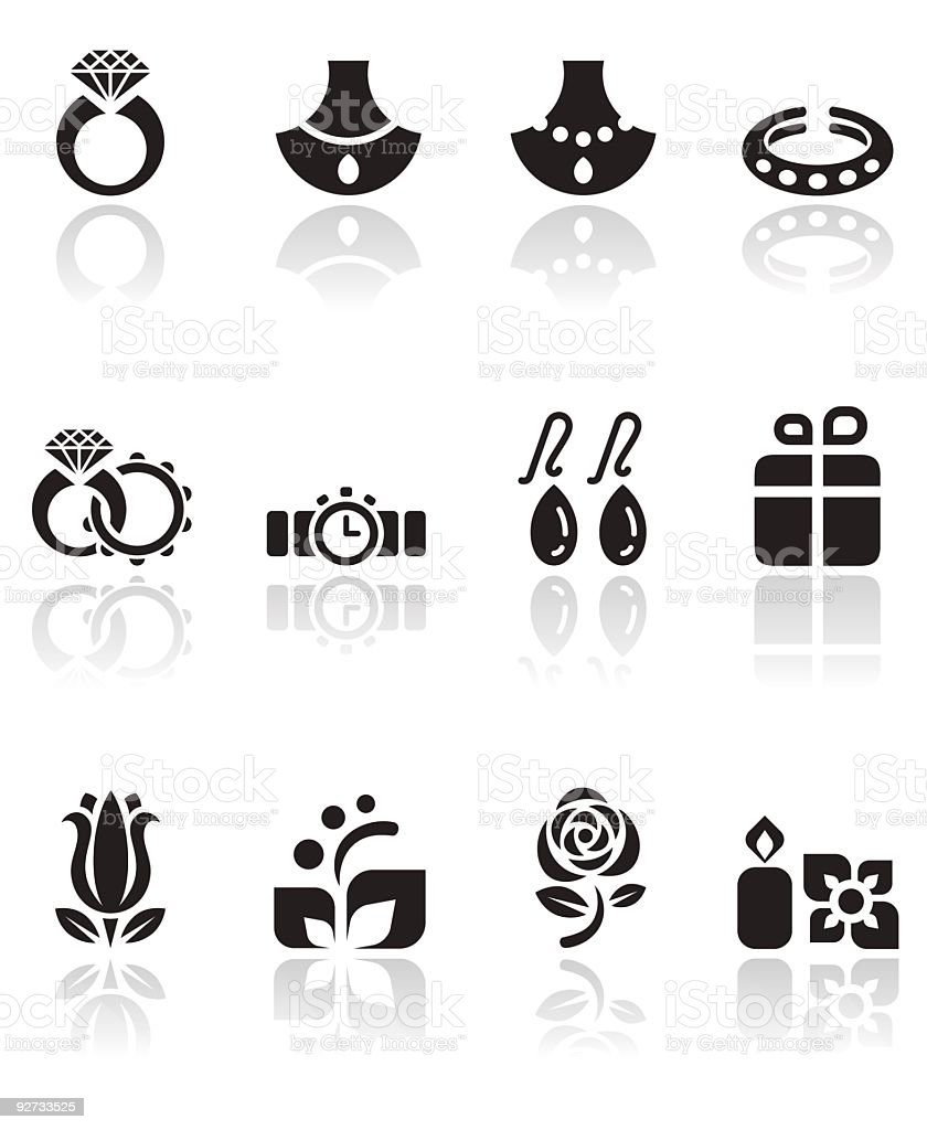 Jewelry and Wedding Icon Set royalty-free stock vector art