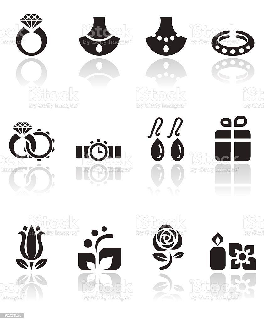 Jewelry and Wedding Icon Set vector art illustration