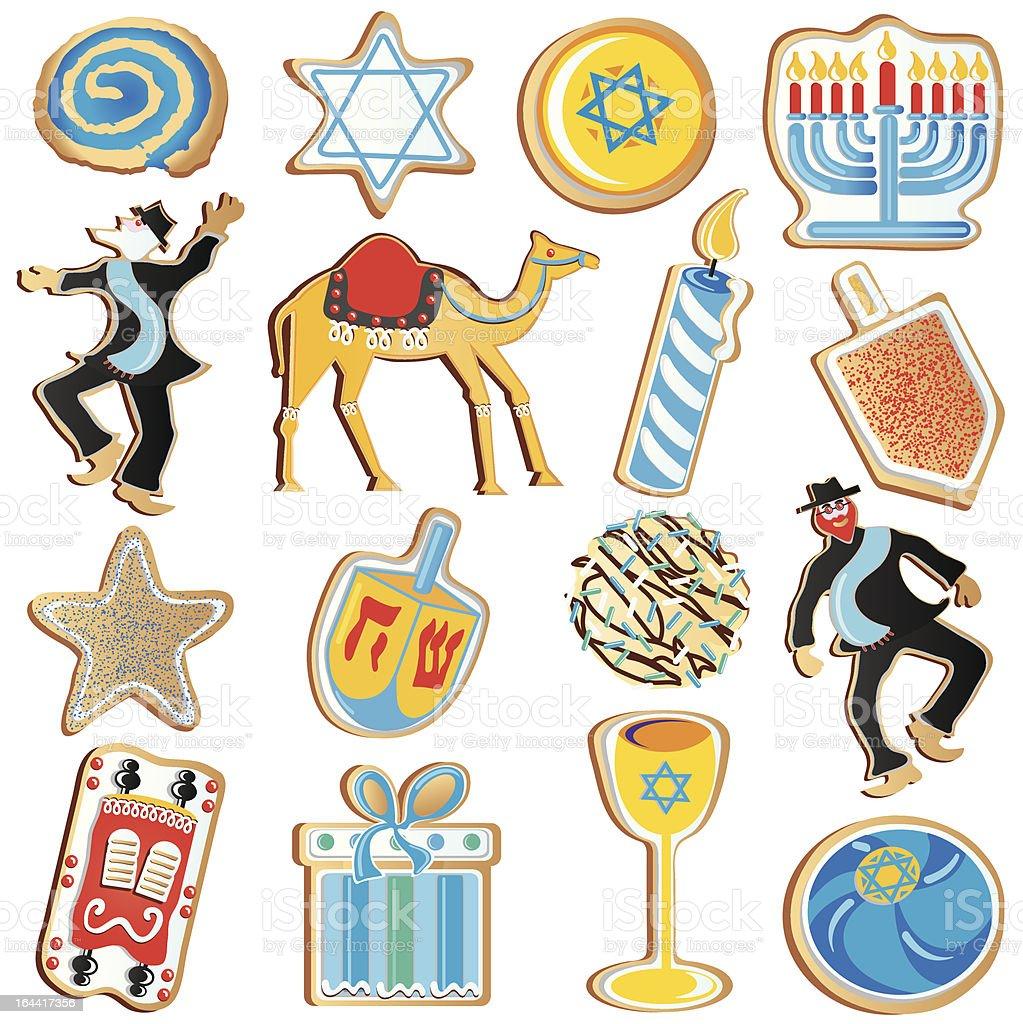 Jewish Chanukah Cookies royalty-free stock vector art