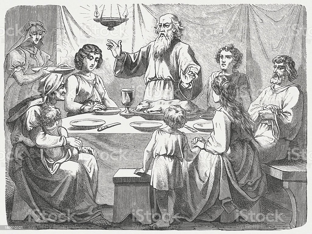 Jewish family at the Passover, wood engraving, published in 1877 royalty-free stock vector art