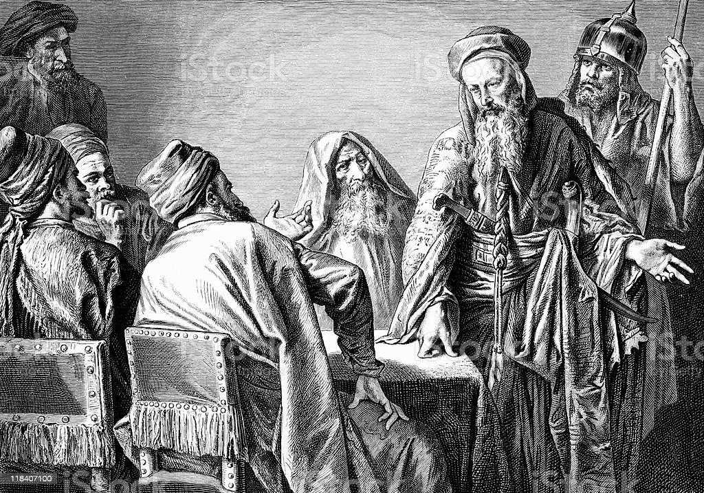 Jewish High Priest with Servants Discuss Jesus Christ vector art illustration