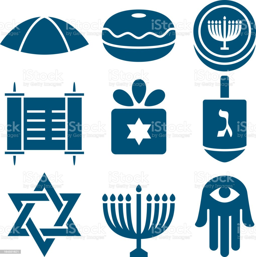Jewish icons 2 vector art illustration