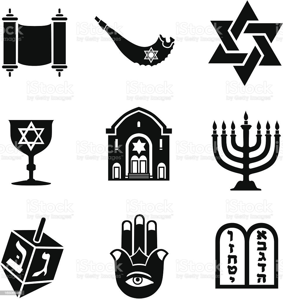 Jewish icons vector art illustration