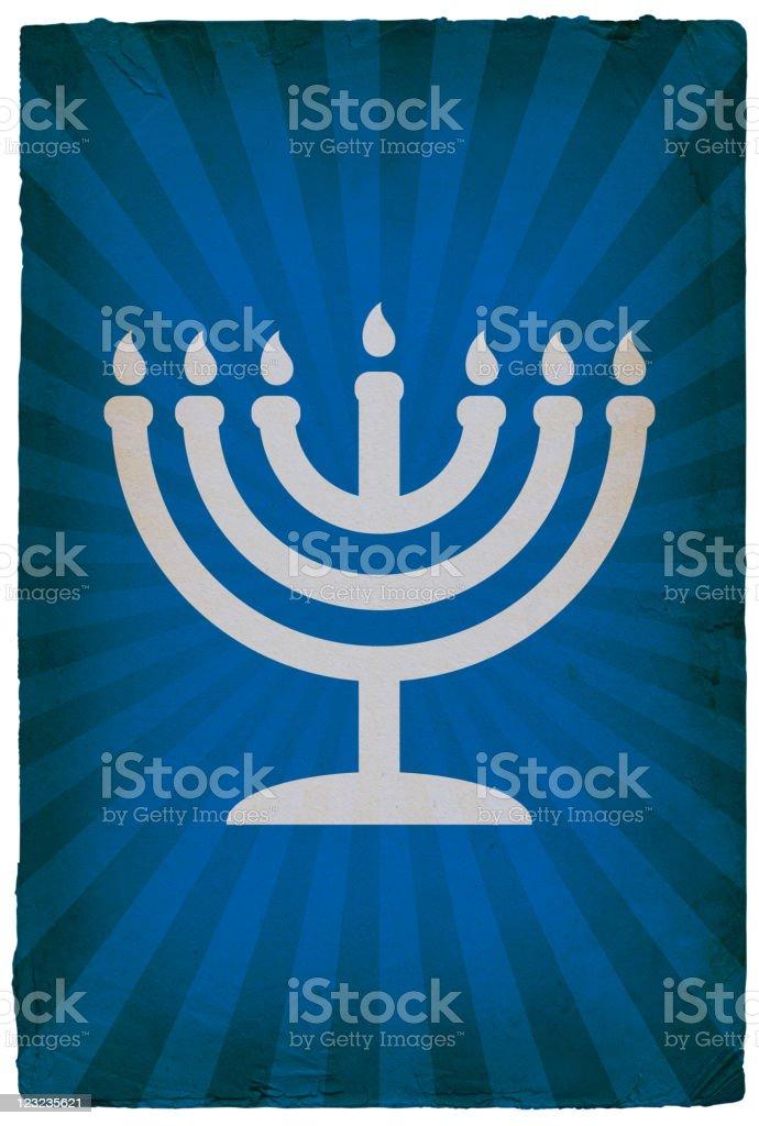 Jewish Menorah on old paper Background vector art illustration