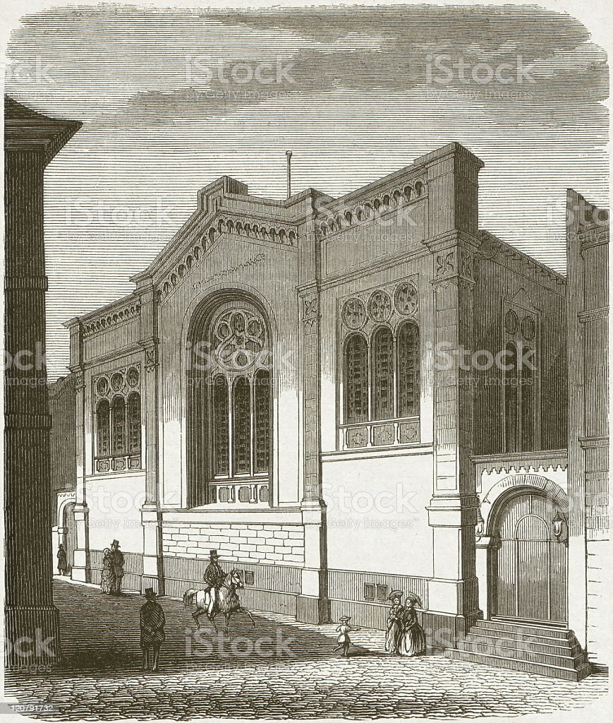 Jewish synagogue in Frankfurt/Main (Germany), wood engraving, published in 1854 royalty-free stock vector art