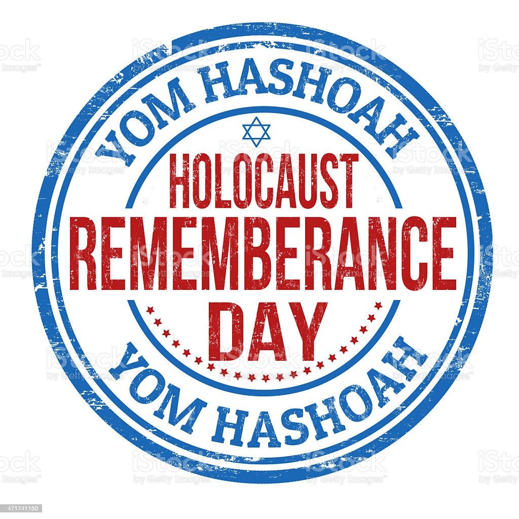Jewish Yom HaShoah Remembrance Day stamp vector art illustration