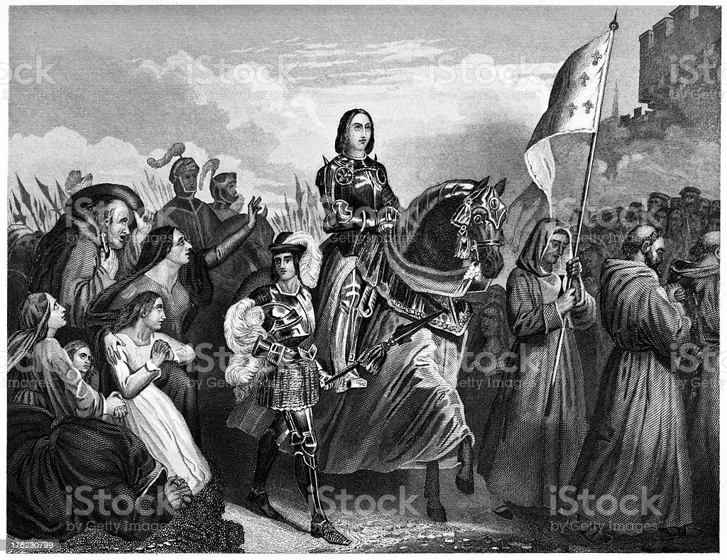 Joan Of Arc Entering Orleans royalty-free stock vector art