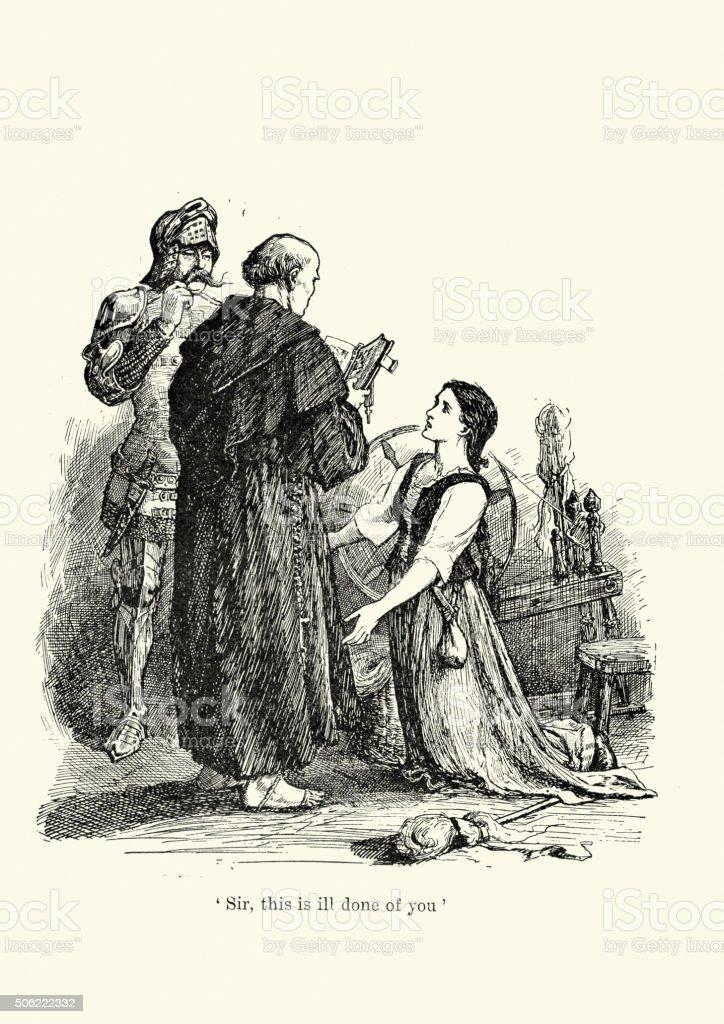 Joan of Arc pleading vector art illustration