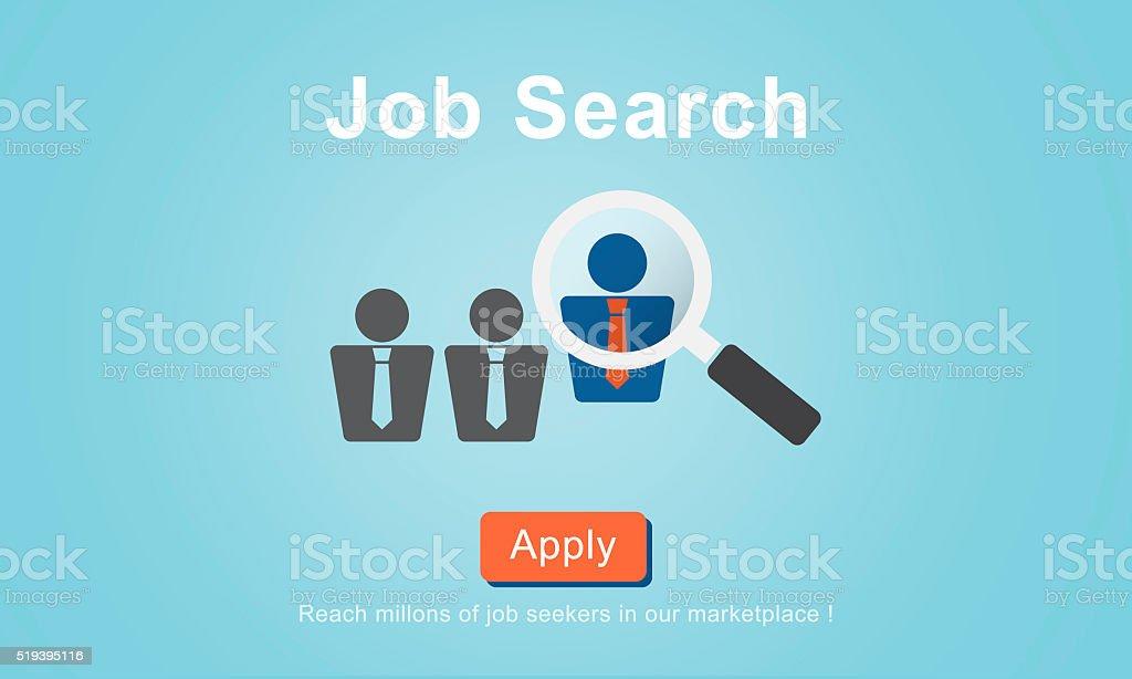Jobs Recruitment Employment Human Resources Website Online Conce vector art illustration