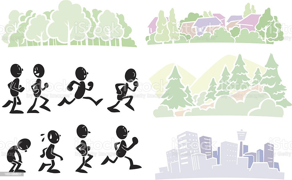 Joggers and 4 backgounds vector art illustration