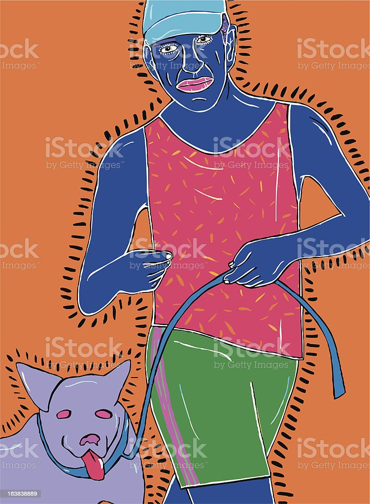 Jogging with a Dog royalty-free stock vector art