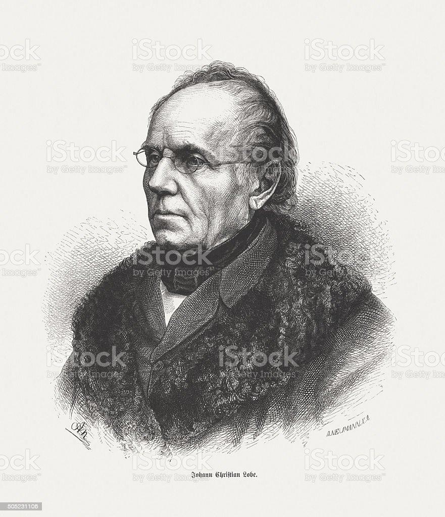 Johann Christian Lobe (1797-1881), German composer, wood engraving, published 1873 vector art illustration