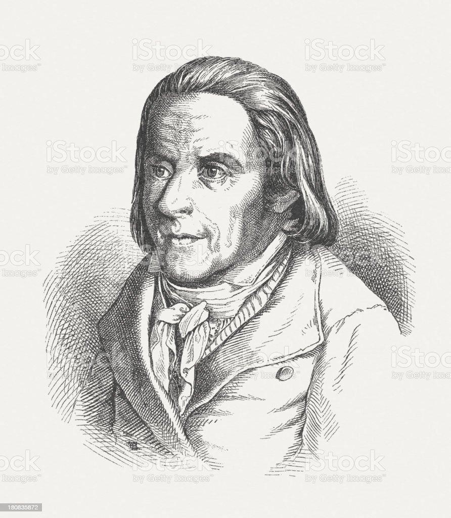 Johann Heinrich Pestalozzi (1746-1827), Swiss educator, wood engraving, published 1882 royalty-free stock vector art