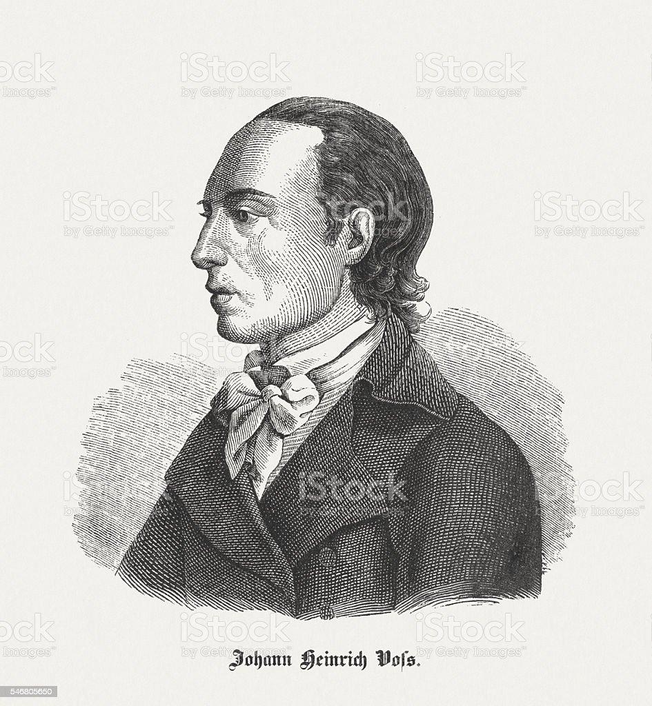 Johann Heinrich Voß (1751-1826), German poet, wood engraving, published 1848 vector art illustration