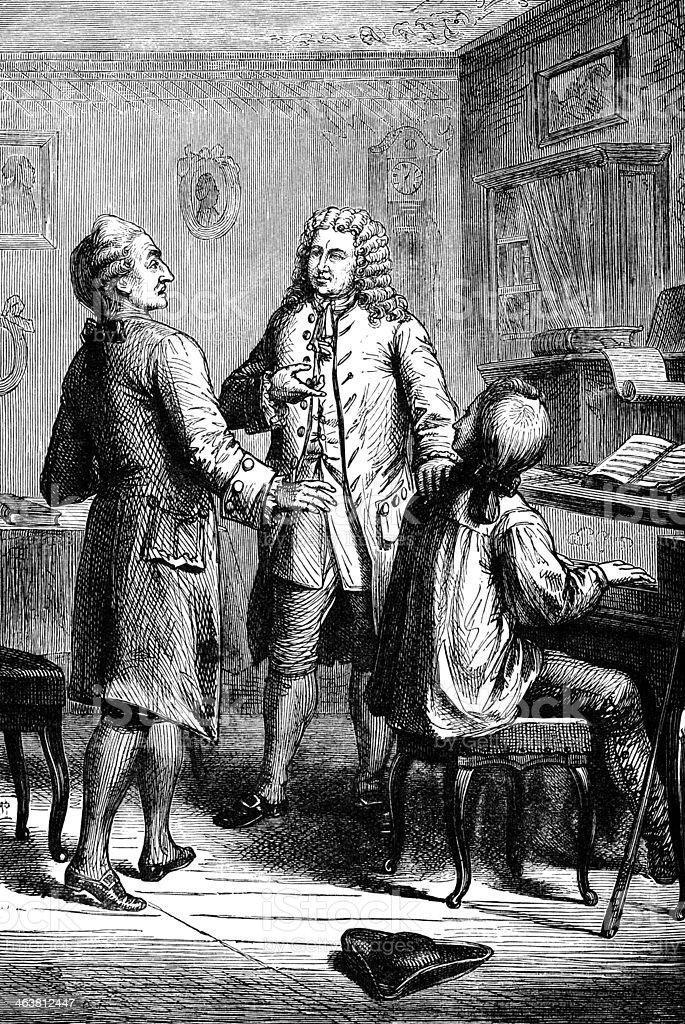 Johann Sebastian Bach - Victorian engraving vector art illustration