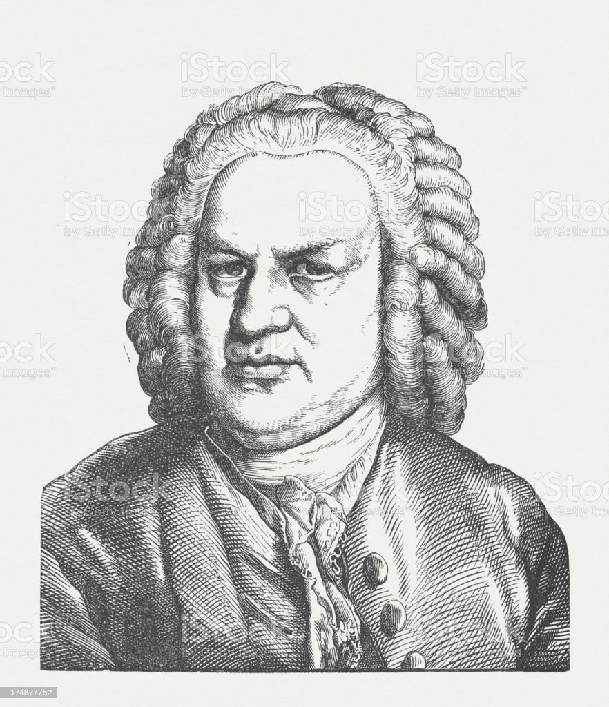 Johann Sebastian Bach (1685-1750), wood engraving, published in 1877 royalty-free stock vector art