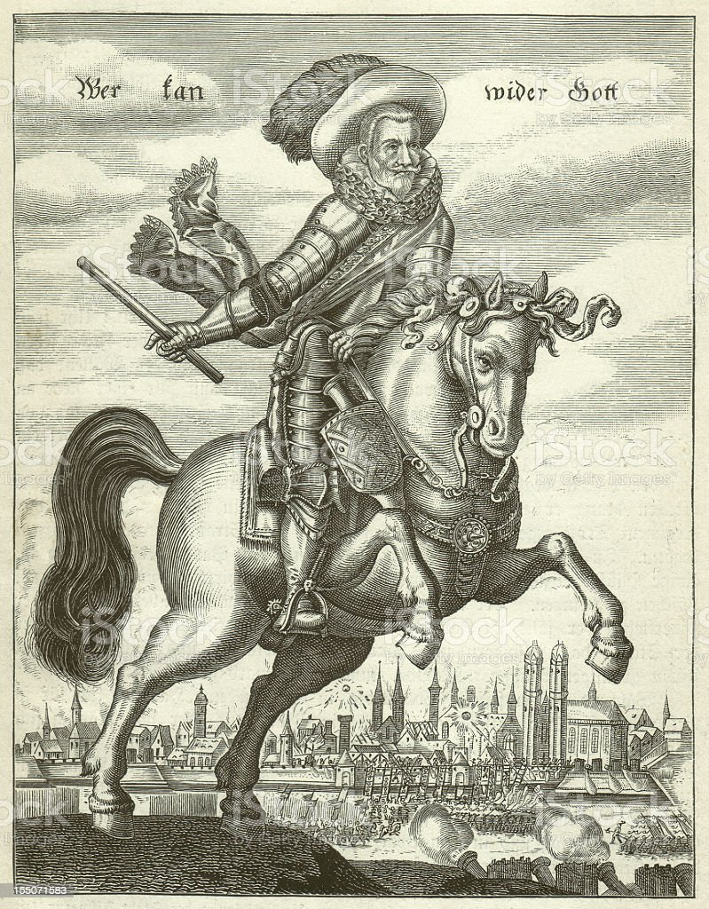 Johann t'Serclaes Count of Tilly (1559-1632), wood engraving, published 1881 royalty-free stock vector art