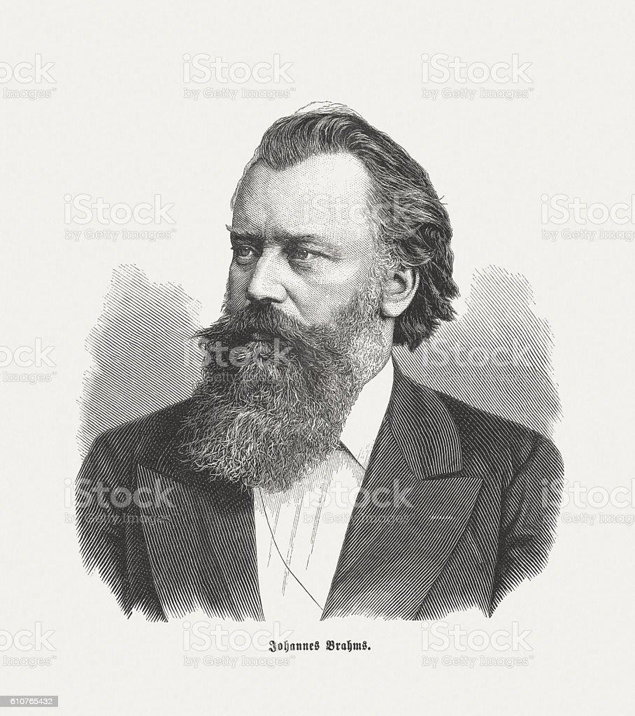 Johannes Brahms (1833-1897), German composer, wood engraving, published in 1882 vector art illustration