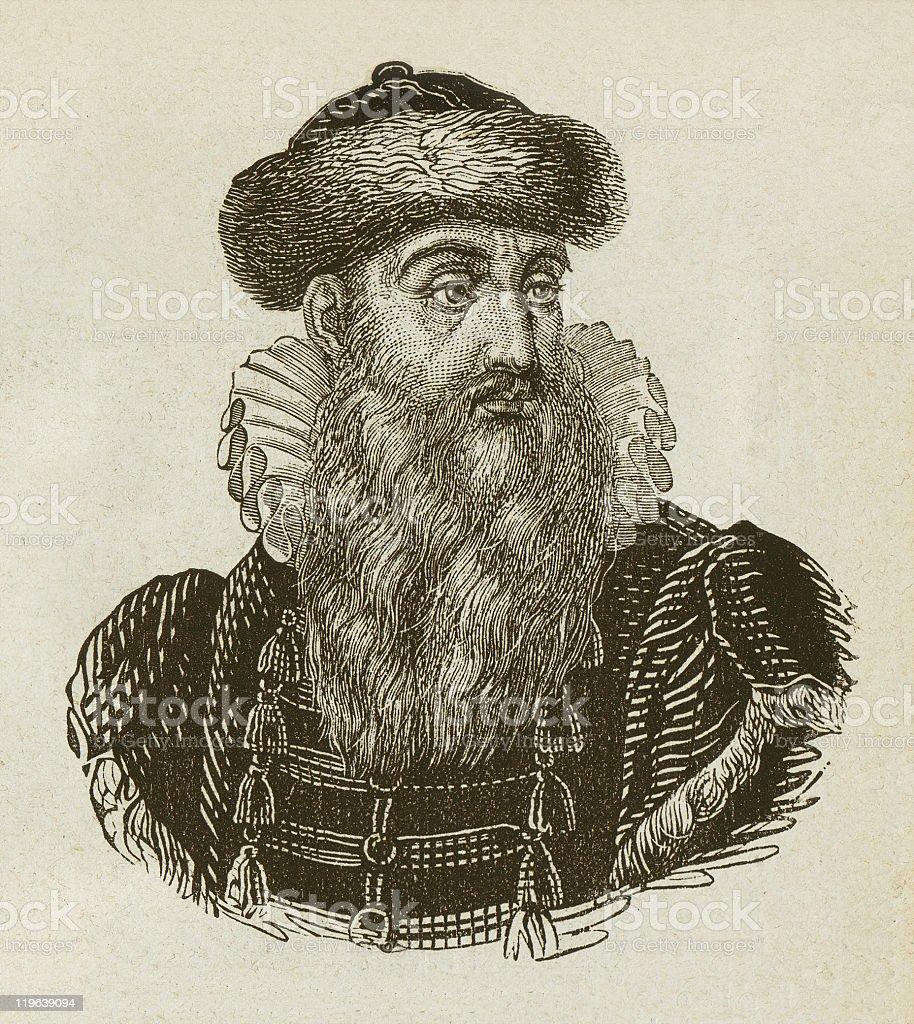 Johannes Gutenberg (c. 1400-1468), German Inventor, wood engraving, published 1877 royalty-free stock vector art