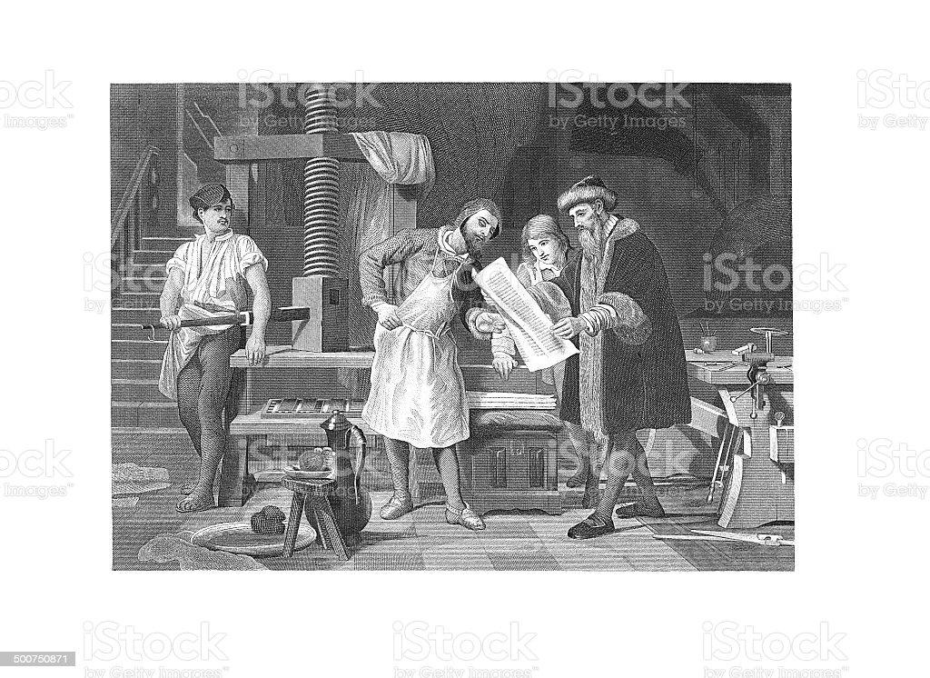 Johannes Gutenberg (antique engraving) vector art illustration