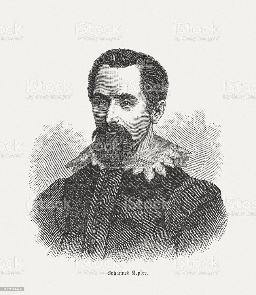 Johannes Kepler (1571 - 1630), wood engraving, published in 1880 vector art illustration