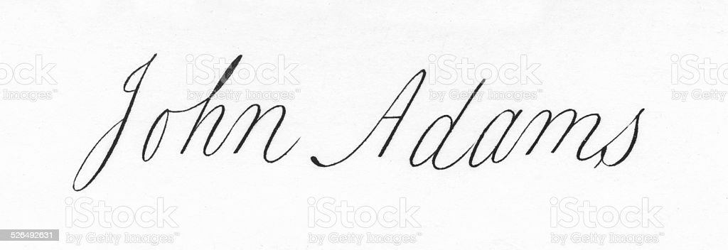 John Adams Signature stock photo