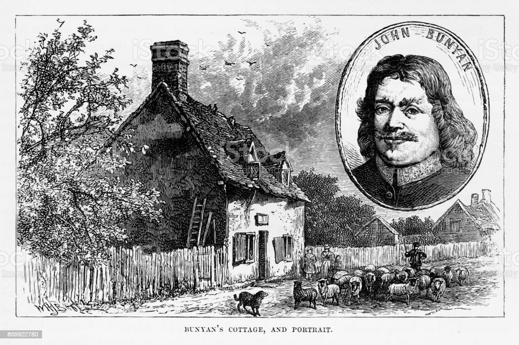 John Bunyan Cottage in Bedford, England Victorian Engraving, 1840 vector art illustration