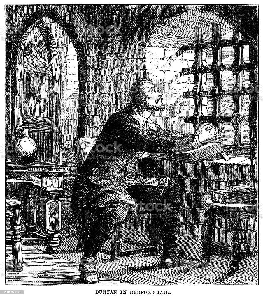 John Bunyan imprisoned in Bedford Jail vector art illustration