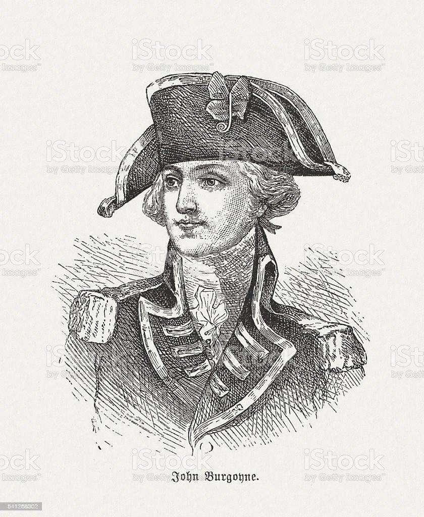 John Burgoyne (1722-1792), British general and dramatist, published in 1884 vector art illustration