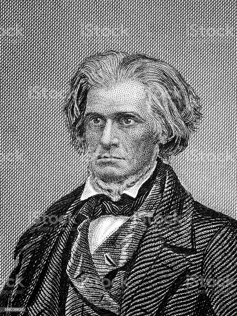 John Calhoun famous American politician vector art illustration