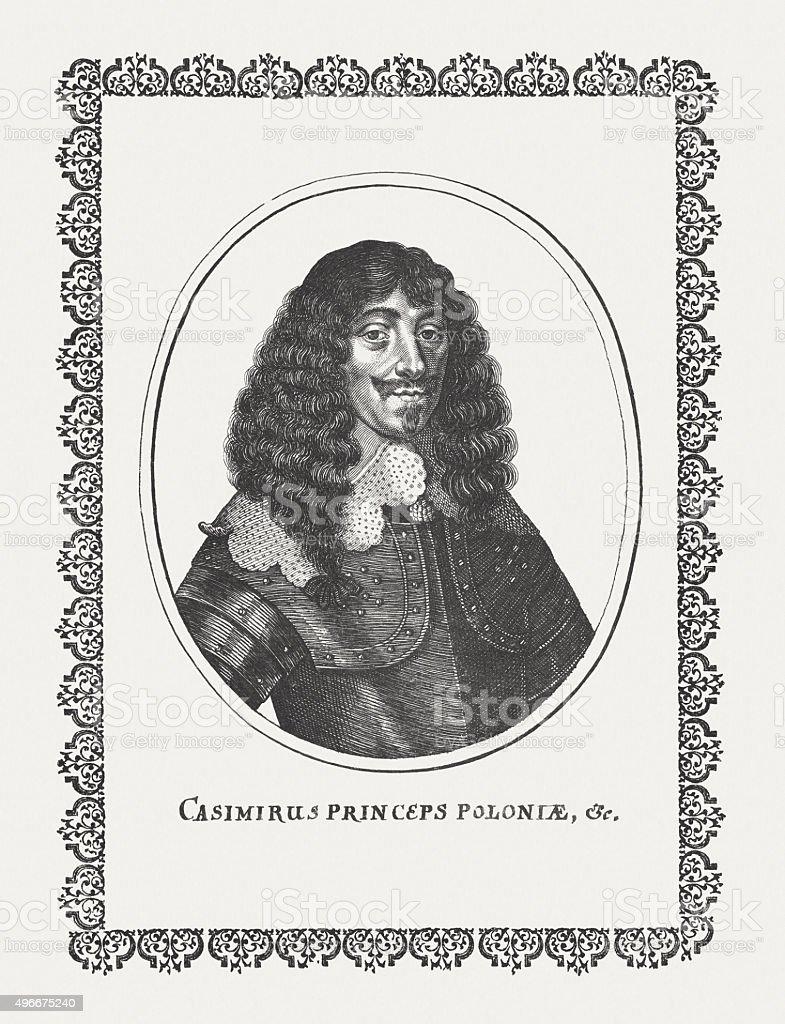 John II Casimir (1609-1672), King of Poland, published c. 1650 vector art illustration